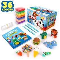 Sago Brothers 36 Colors Modeling Clay for Kids, Soft Molding Clay for DIY Slime, Ultra Light Air Dry Modeling Clay with Clay Tools & Tutorial Book, Magic Clay for Toddlers Children