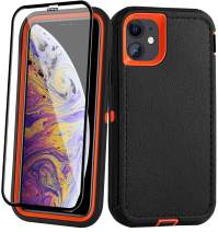 AOPULY Case for iPhone 11 Heavy Duty Full Body Rugged Case with Tempered Glass, Drop Protection Shockproof Durable Cover for iPhone 11 6.1-inch [Black and Orange]