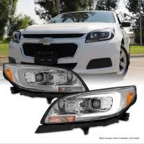 For 2013-2015 Chevy Malibu C-Bar LED DRL Left and Right Chrome Housing Projector Headlights