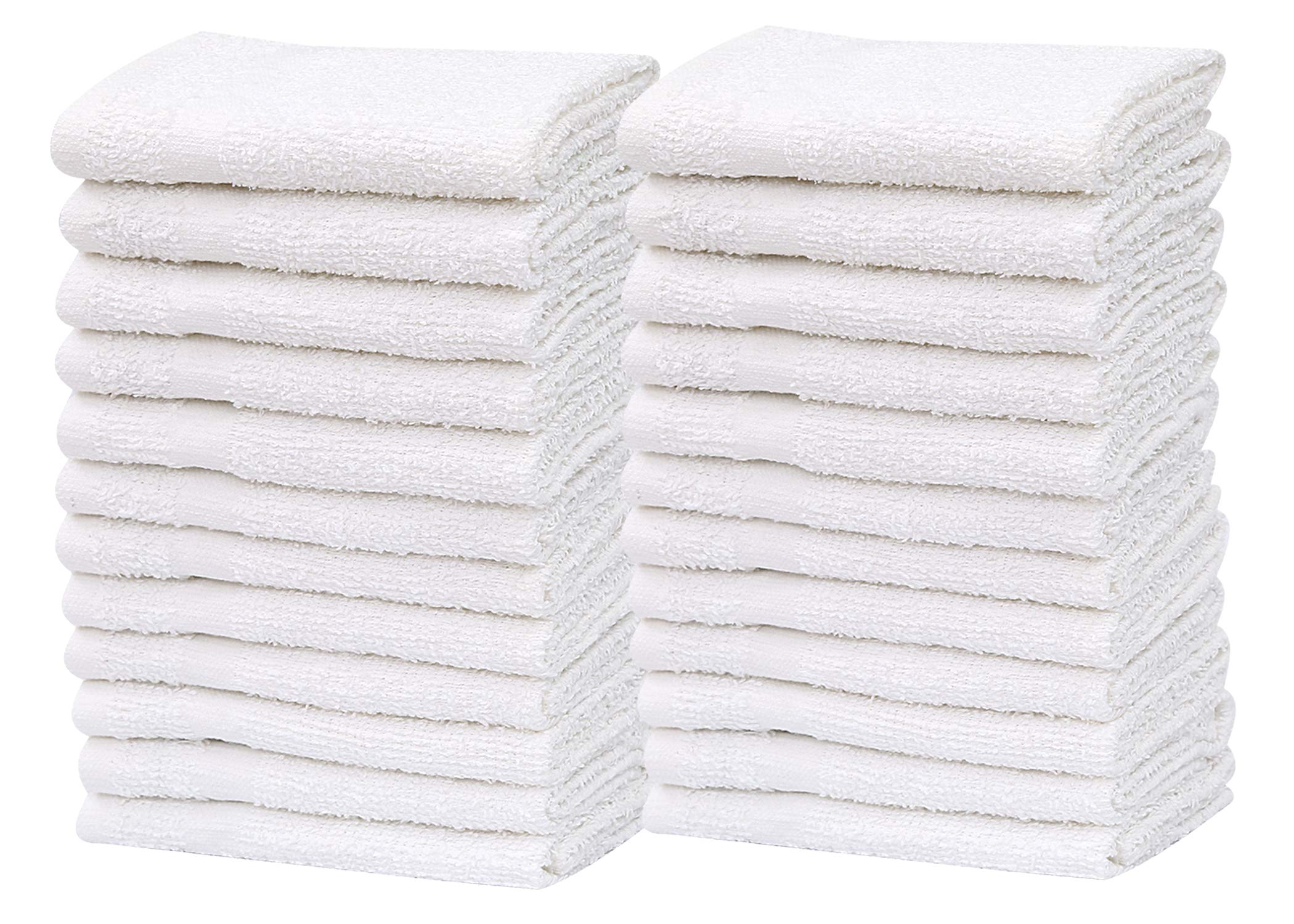 """GOLD TEXTILES Pack of 24 Washcloth Kitchen Towels,100% Natural Cotton, (12""""x12"""") Hand Towels, Commercial Grade Washcloth, Machine Washable Cleaning Rags, Wash Cloths for Bathroom bu (24, White)"""