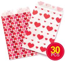 Baker Ross Heart Party Bags, Gift Bags for Kids to Fill with Treats and Small Toys (Pack of 30)