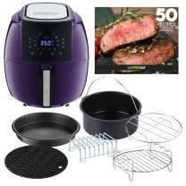 GoWISE USA GWAC22006 5.8-Quart Air Fryer, 6 PC Accessory Set + 50 Recipes (Plum), QT
