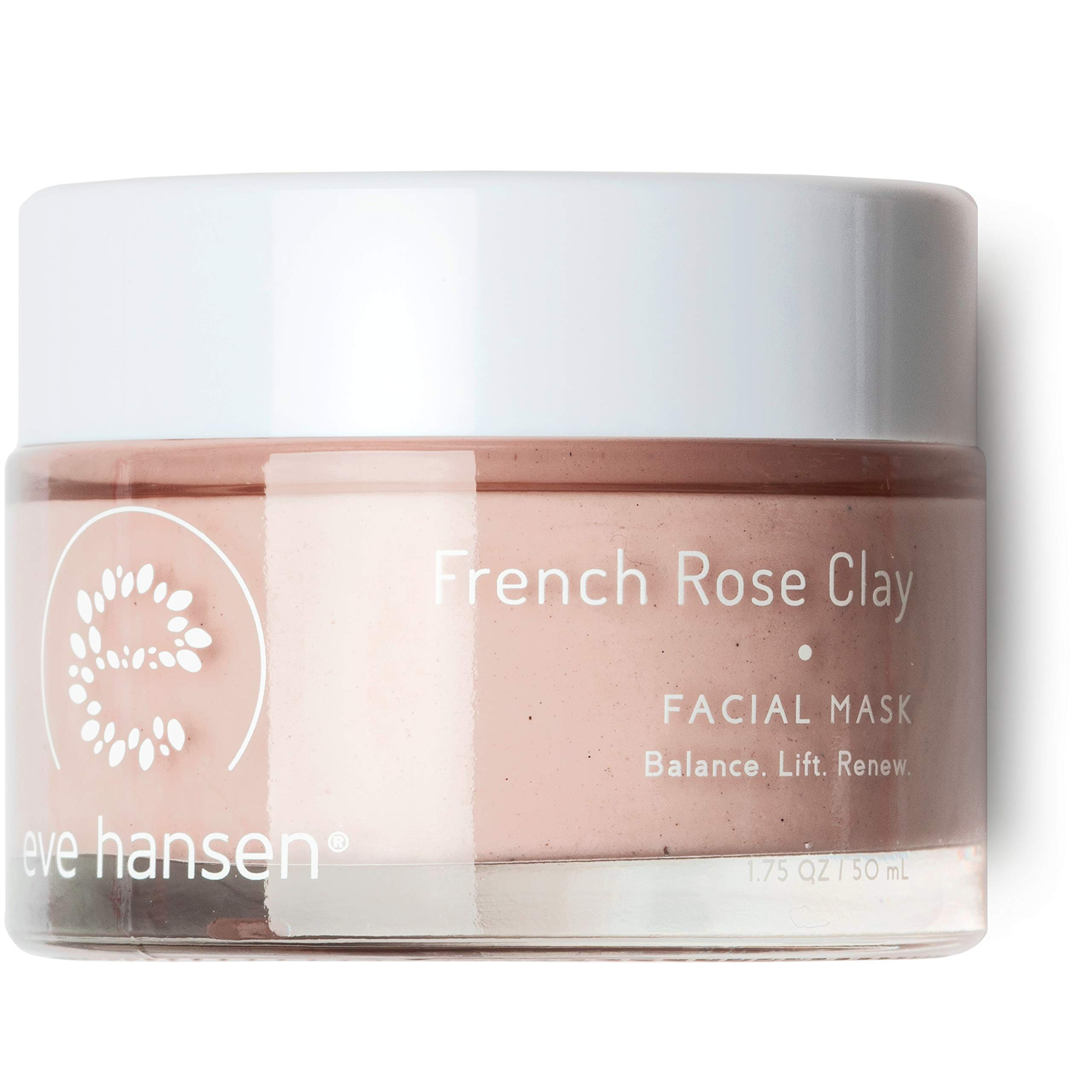 Eve Hansen French Rose Clay Face Mask - Resurfacing Pink Clay Mask with Bentonite, Kaolin, Rosehip, Moringa for Clogged Pores, Blackheads, Acne Scars, Dark Spots - 1.7oz