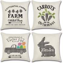JOJUSIS Easter Throw Pillow Covers for Couch Car Sofa Set of 4 Egg Rabbit Buffalo Check 18 x 18 Inch