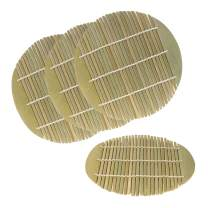6.5 Inch Dia Green Bamboo Steamer liners Kitchen Mat Rack Steamer Pad Inserts, 4 Pieces