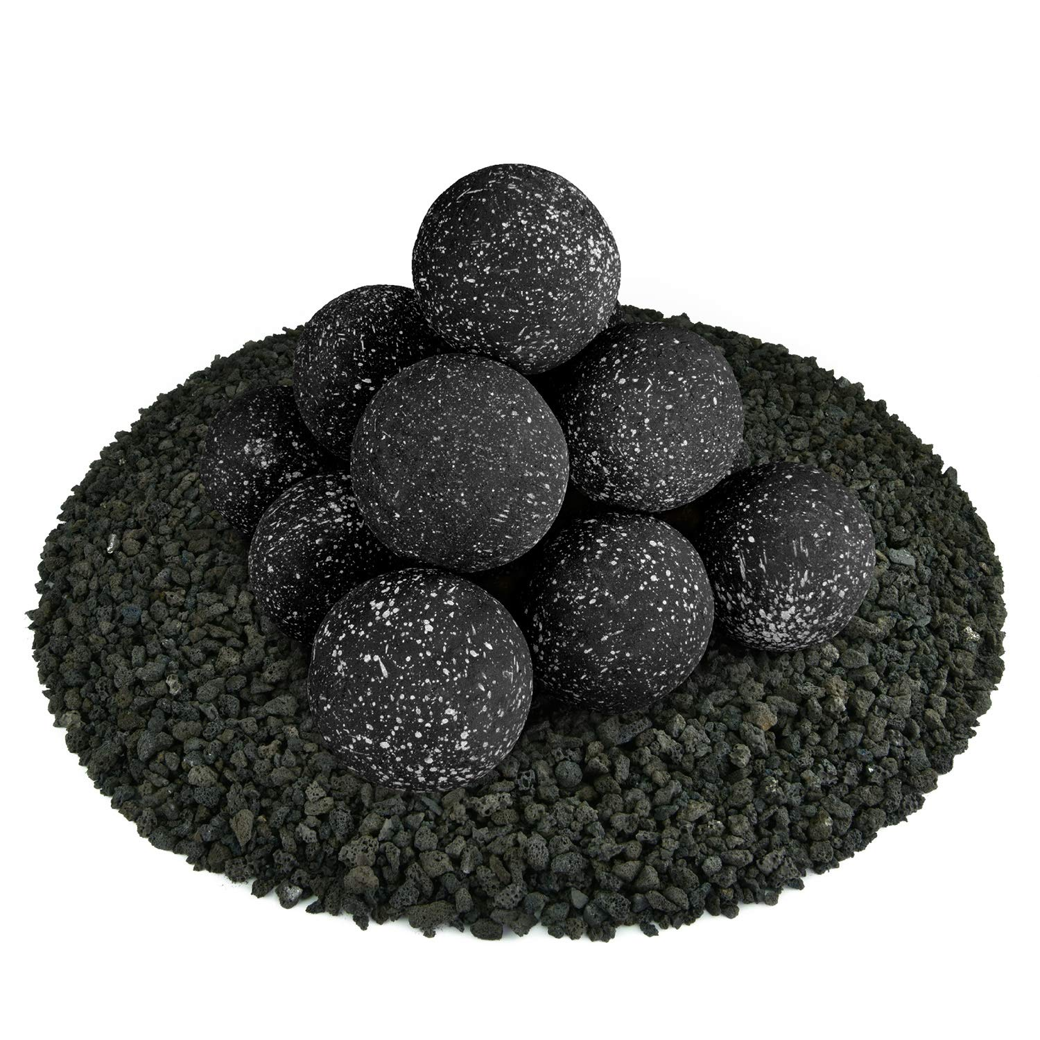 Ceramic Fire Balls | Set of 14 | Modern Accessory for Indoor and Outdoor Fire Pits or Fireplaces – Brushed Concrete Look | Midnight Black, Speckled, 4 Inch