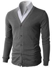 H2H Mens Casual Slim Fit Cardigans V-Neck Basic Designed Long Sleeve Button Down
