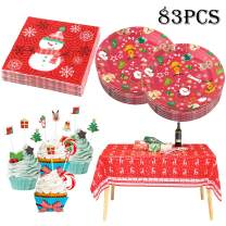 Whaline 83 Pieces Christmas Party Disposable Tableware Set, Including Tablecloth, Paper Plates, Napkins and Cupcake Toppers, Complete Supplies for Holiday Season Themed Xmas Party