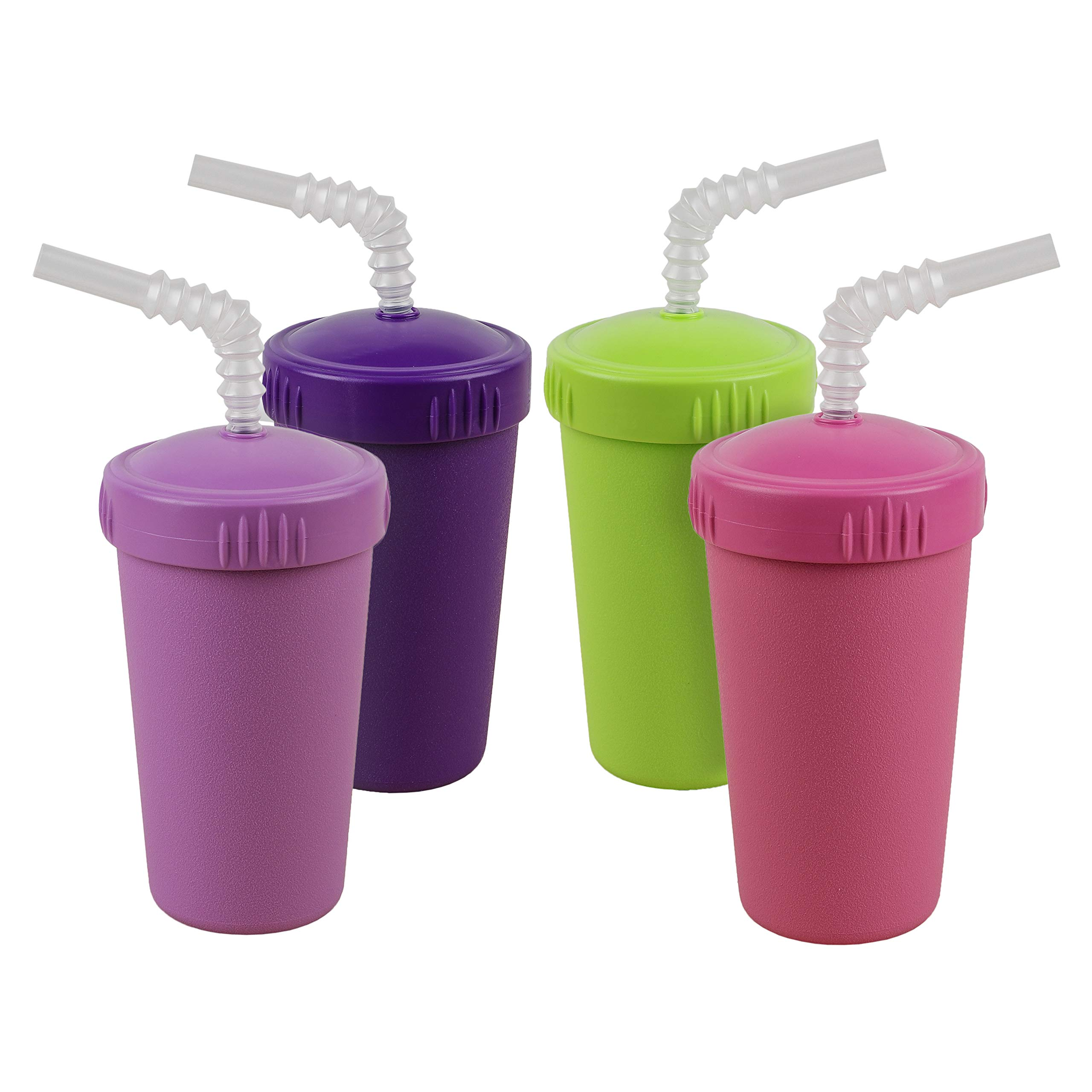 Re-Play Made in USA 4pk Straw Cups with Bendable Straw in Purple, Bright Pink, Lime Green and Amethyst | Made from Eco Friendly Heavyweight Recycled Milk Jugs - Virtually Indestructible (Butterfly+)