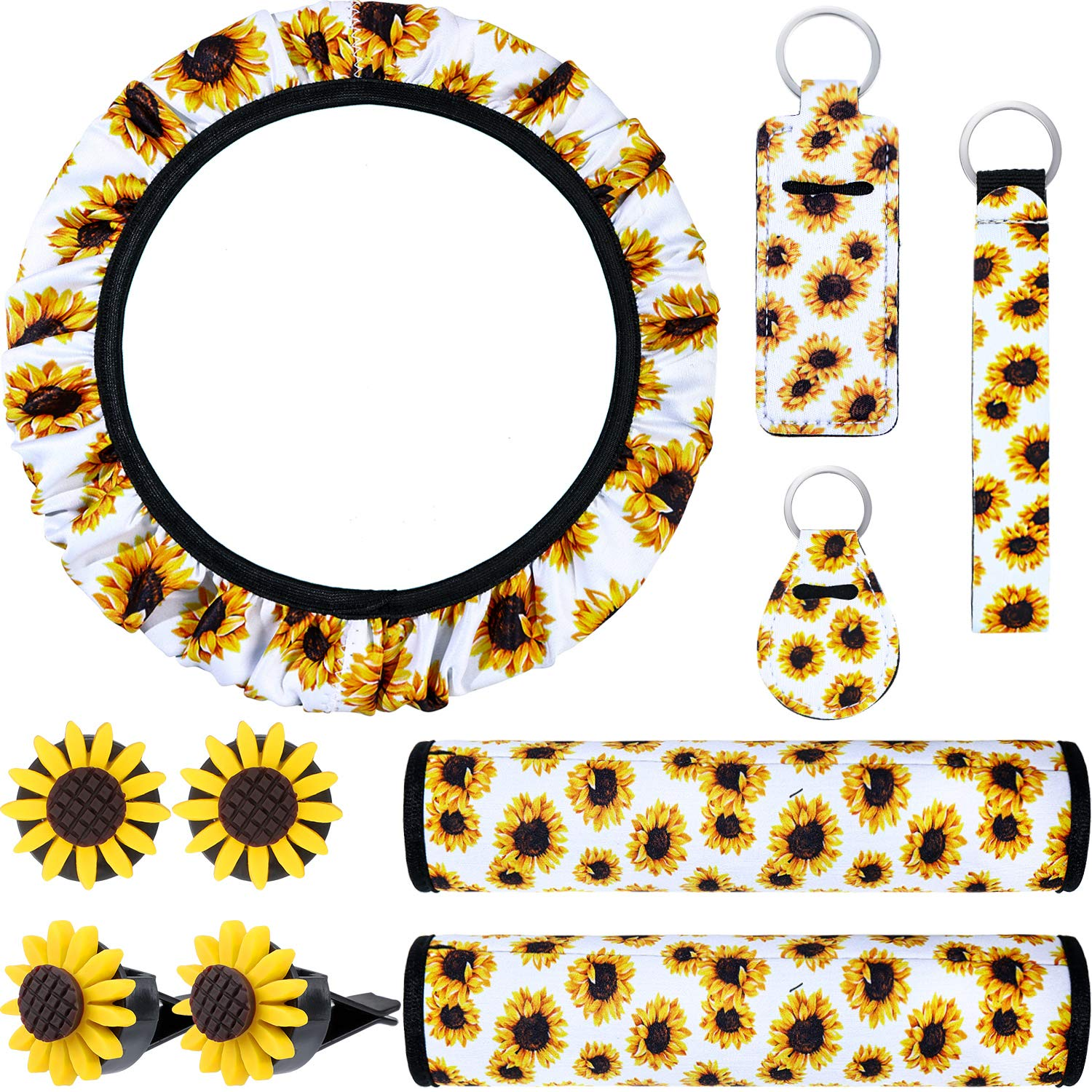 10 Pieces Sunflower Car Accessories Set Include Sunflower Steering Wheel Cover, Cute Sunflowers Keyring, Car Vent Decorations and Seat Belt Shoulder Pads (White Background)