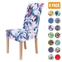 Colorxy Stretch Dining Room Chair Cover Spandex Removable Washable Floral Printing Chair Slipcover for Kitchen Living Room, Berries and Wild Flowers, Set of 6