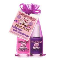 Piggy Paint 100% Non-Toxic Girls Nail Polish - Safe, Chemical Free Low Odor for Kids, Lollipops and Gumdrops (Bright Pink, Purple)