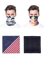 Moss Rose 4 Multi Face Mask Bandanas Set For Dust, Outdoors, Festivals, Sports