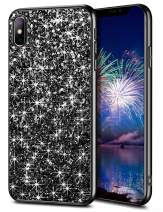 WOLLONY Case for iPhone Xs Max Case for Women Girl Glitter Sparkle Bling Shiny Ultra Slim Durable Hybrid TPU Shockproof Bumper Hard Anti-Slip Back Protective Cover for iPhone Xs Max 6.5inch Black