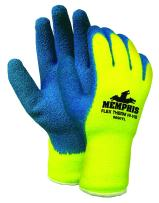 MCR Safety 9690YL Flex-Therm Acrylic Shell Men's Gloves with Latex Dipped Palm and Fingertips, Blue/Yellow, Large, 1-Pair