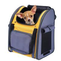 Pettom Pet Backpack Carrier for Small Dogs Cats Puppies Bunny Two-Sided Entry Safety Features Outdoor Rucksack for Small Dog Pet for Car Travel Hiking