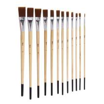 Darice Studio 71 Brown Synthetic Flat Brush Set, 12 Pieces Paintbrushes