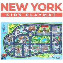 """Kids Play Mats for Toddlers. Educational, Road & Car Rug with map of New York City. Large 75"""" x 45"""" Floor Playmat for Children. Ideal Kids Rugs for Playroom, Bedroom, Activity Room for Toys & Cars."""