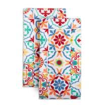 """Fiesta Worn Tiles Kitchen Towel Set, 16""""x28"""", Orange"""