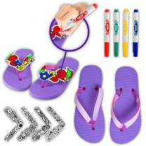 WolVol Do-It-Yourself Girls Flip Flops - Adorable Slippers with Art & Colorful Markers - Boost Creativity & Imagination for Girls