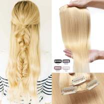 S-noilite 16 18 20 Inches Real Human Hair Extensions Clip in 10pcs 100g 20 Clips Wefted Natural Layered Clipin Hair Full Head Standard Weft Highlights Ombre Hair For Beauty #613 Bleach Blonde