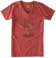 Life is Good Crusher Livin Boots Engraved T-Shirt, Rustic Red