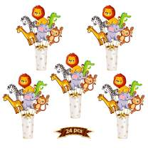 kortes 24 Pack Animal Party Decration Set Animal Birthday Party Centerpiece Sticks Table Topper Party Supplies