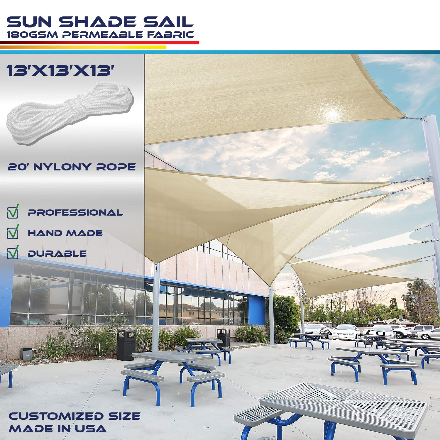 Windscreen4less x 13ft Sun Shade Sail for Outdoor Patio Backyard UV Block Awning with Steel D-Rings Beige Sand Triangle, Custom, 13' x 13' x 13'