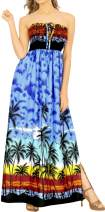 LA LEELA Women's One Size Boho Vintage Ethnic Style Summer Tube Dress Printed E