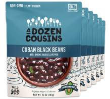A Dozen Cousins Meals Ready to Eat, Vegan and Non-GMO Seasoned Beans Made with Avocado Oil (Cuban Black Beans, 6-Pack)