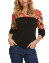 Zeagoo Women's Casual Long Sleeve Print Patchwork Blouse Top Tee Shirt