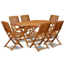 This 7 Pc Acacia Courtyard Sets includes one outdoor table and Six patio dining chairs