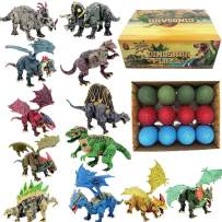 BIBIELF Dinosaur Dragon Figures Toys for Boys Girls Toddlers, 12 Unique Easter Dino Egg Toys STEM Gift for Kids Age 5 6 7 8 9 10 Years Old