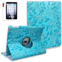 NEWQIANG iPad 9.7 inch 2018 2017 Air1 Case with Screen Protector - iPad 5th 6th Generation Case - 360 Degree Rotating Stand, Auto Sleep Wake, Shockproof - A1822 A1823 A1474 A1475 (Embossed Flower)