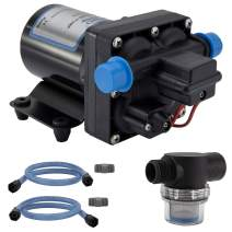 RecPro RV Water Pump | 12V Electric 4 Chamber Water Pump with Pressure and Bypass Switch | 45 PSI Max Draw 8.0AMP GPM/LPM 3.0/11.6 | Self Priming (with Strainer, with Silencer)