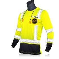 KwikSafety (Charlotte, NC) MECHANIC Long Sleeve (w/POCKET & Black Trim) Class 3 ANSI High Visibility Safety Shirt Fishbone Reflective Tape Construction Security Hi Vis Clothing Men | Yellow Large