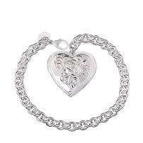 lureme Heart Locket Bracelet Holds Photo Pendants Silver Charm Chain Bracelets Bangle for Women Girls(06002771)
