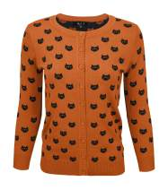 YEMAK Women's Cute Cat Dog Pattern 3/4 Sleeve Button Down Cardigan Sweater