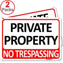 TICONN 2-Pack Private Property Sign, No Trespassing Aluminum Warning Sign, 7x10 Inches Indoor/Outdoor Use for Home Business Security Alert, Reflective, UV Protected & Waterproof