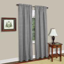 "Achim Home Furnishings BCPN84BW12  Buffalo Check Window Curtain Panel (Single Curtain), 42"" x 84"", Black & White"