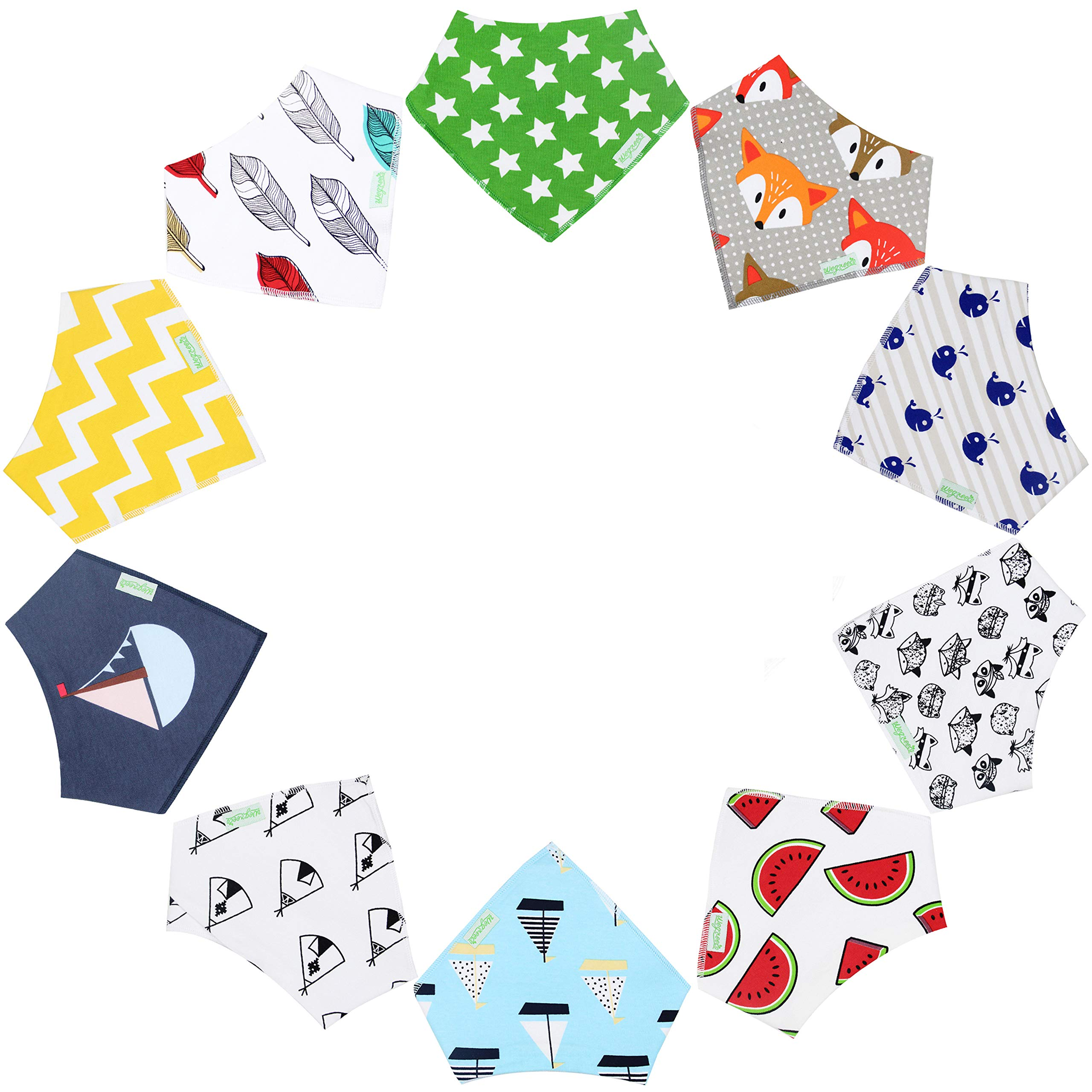 10-Pack Unisex Baby Bandana Drool Bibs for Babies,Toddlers - Cotton Absorbent Bib Bandana (Neutral Pattern)