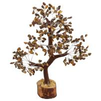 FASHIONZAADI Tiger Eye Gemstone Money Tree Natural Feng Shui Bonsai Healing Stone Crystals Reiki Chakra Good Luck Table Décor Crystal Size 10-12 inch (Silver Wire)