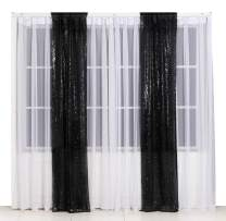 Poise3EHome 2ft x 8ft Sequin Photography Backdrop Curtain 2 Panels for Party Decoration, Black