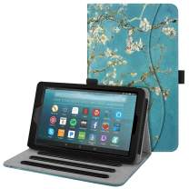 Fintie Case for All-New Amazon Fire 7 Tablet (9th Generation, 2019 Release) - [Multi-Angle] Viewing Folio Stand Cover with Pocket Auto Wake/Sleep, Blossom