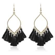 Boho Rhombus Metal Frame with Tassels Dangle Drop Earrings for Women