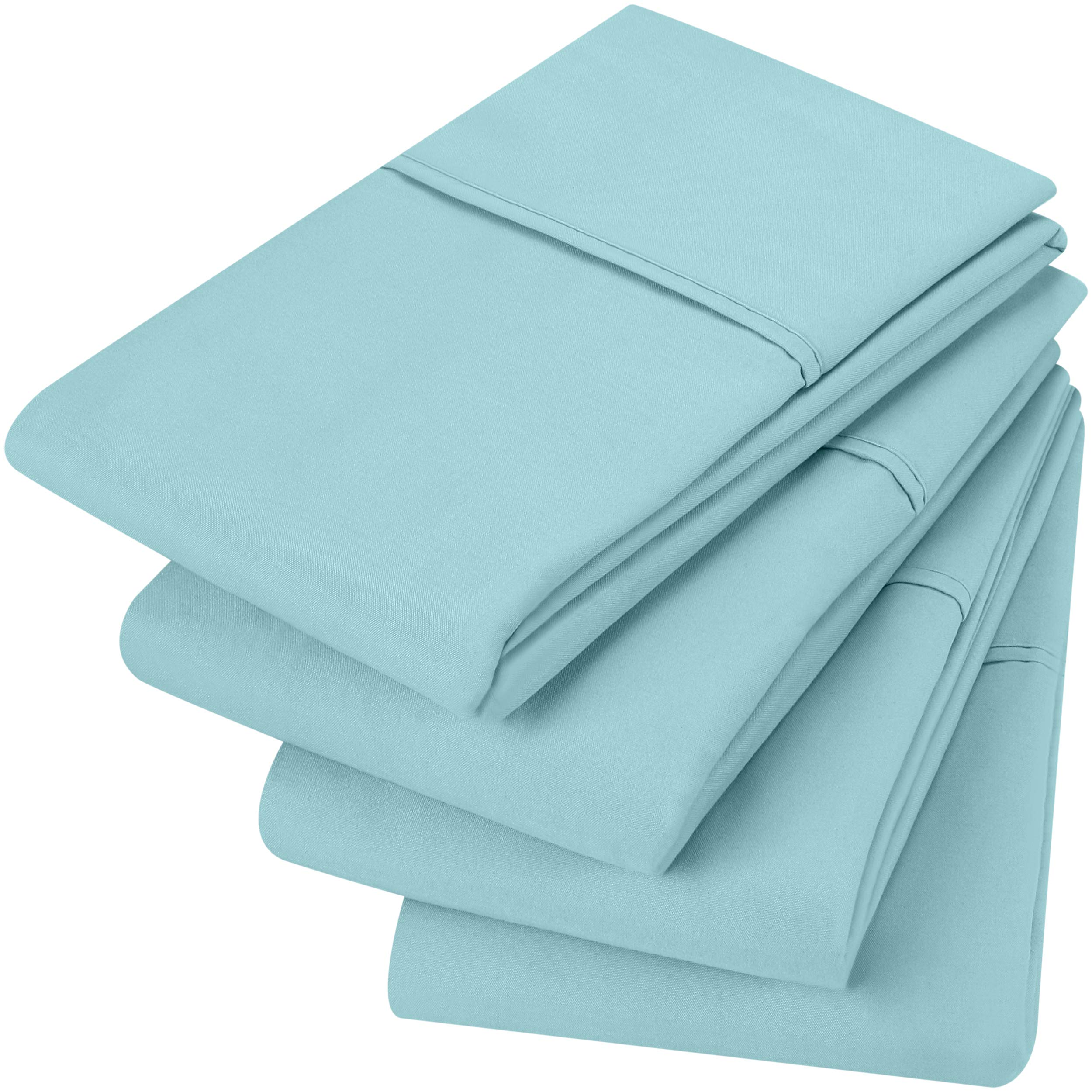 Utopia Bedding Pillowcases - 4 Pack - Envelope Closure - Soft Brushed Microfiber Fabric- Wrinkle, Shrinkage and Fade Resistant Pillow Covers (King, Spa Blue)