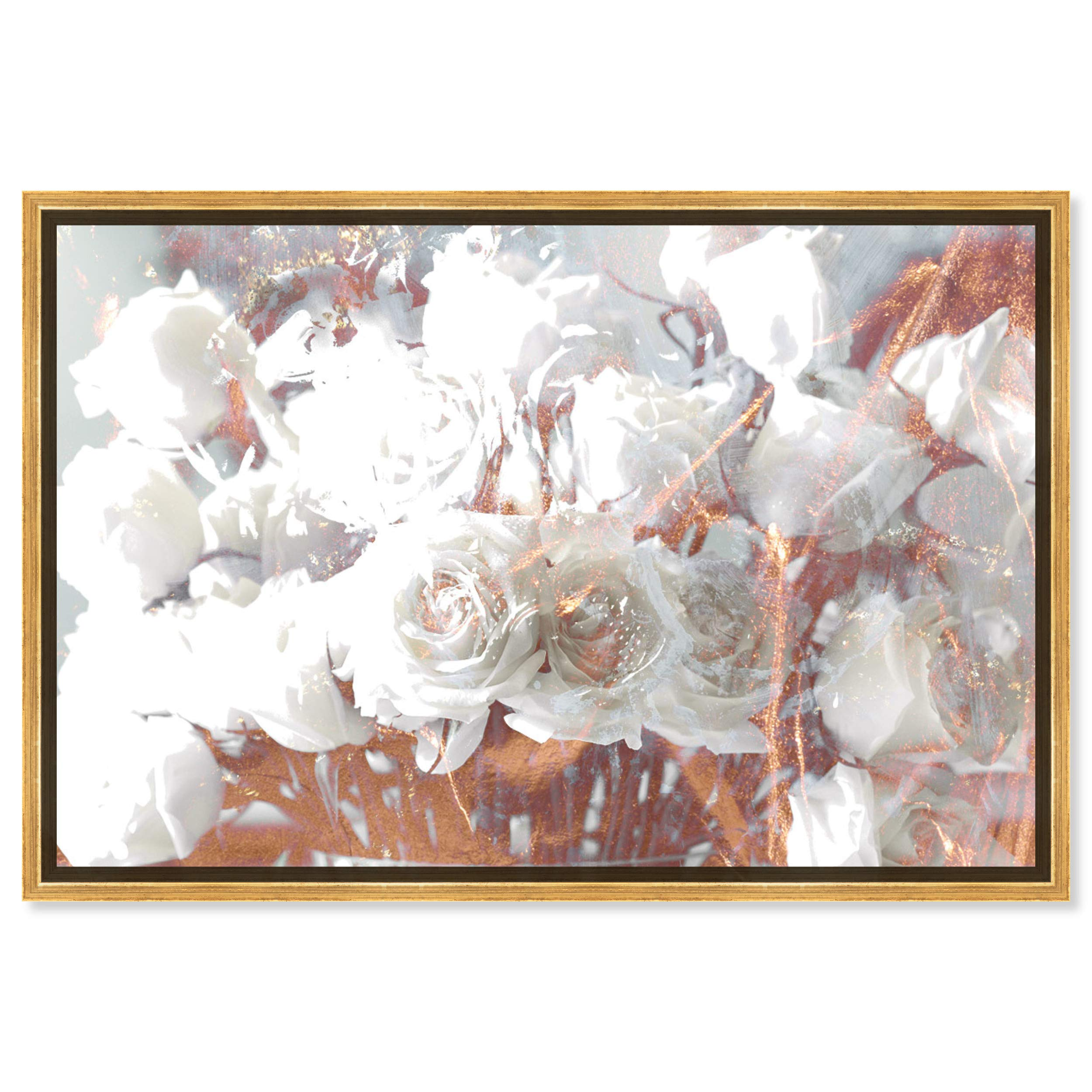 Floral and Botanical Framed Wall Art Canvas Prints 'Rose Gold Feast' Florals