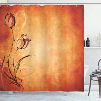 """Ambesonne Antique Shower Curtain, Vintage Aged Background with The Silhouette of Rose Bloom Digital Image, Cloth Fabric Bathroom Decor Set with Hooks, 70"""" Long, Orange Mustard"""