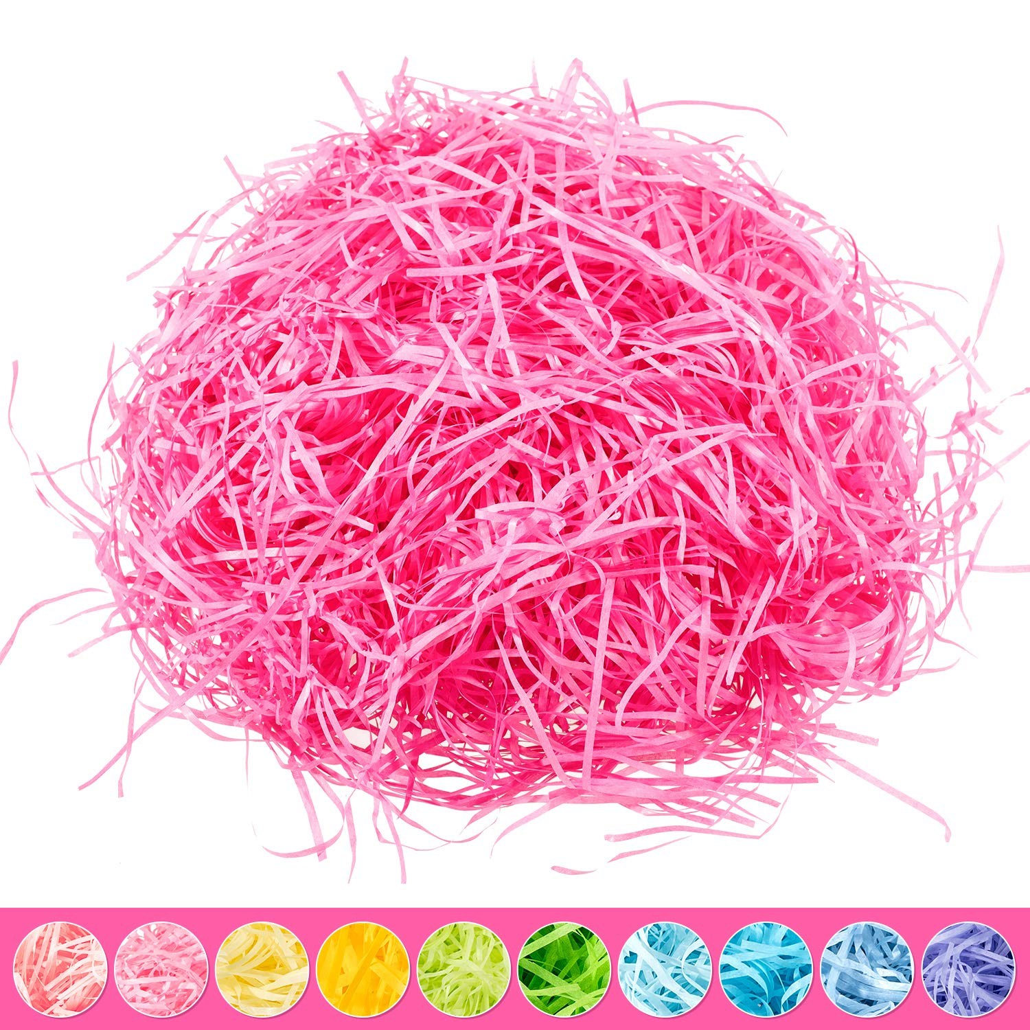Whaline Easter Basket Grass Craft Shredded Tissue Raffia Gift Filler Paper Shreds for Baskets Egg Stuffers for Spring Party Supplies Accessories Decorations (Rose Red)