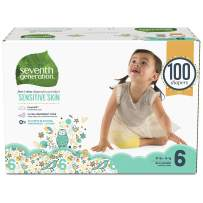 Seventh Generation Baby Diapers for Sensitive Skin, Animal Prints, Size 6, 100 Count (Packaging May Vary)